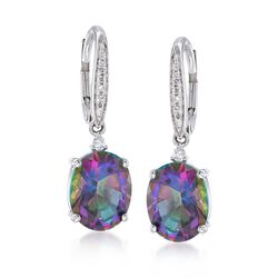 4.50 ct. t.w. Mystic Topaz Drop Earrings With Diamond Accents in 14kt White Gold , , default