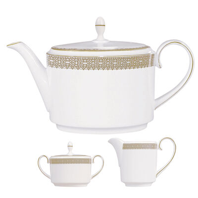 "Vera Wang for Wedgwood ""Lace Gold"" Tea Service"
