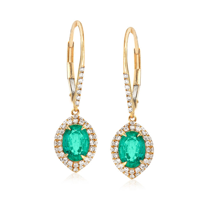 1.60 ct. t.w. Emerald and .50 ct. t.w. Diamond Drop Earrings in 14kt Yellow Gold
