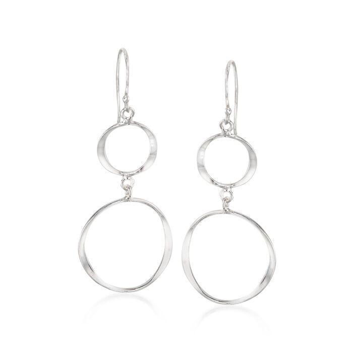 Sterling Silver Double Open Circle Drop Earrings, , default