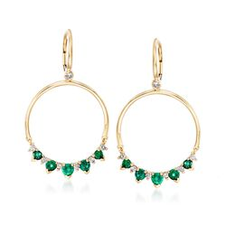 1.40 ct. t.w. Emerald and .44 ct. t.w. Diamond Open Circle Drop Earrings in 14kt Yellow Gold, , default