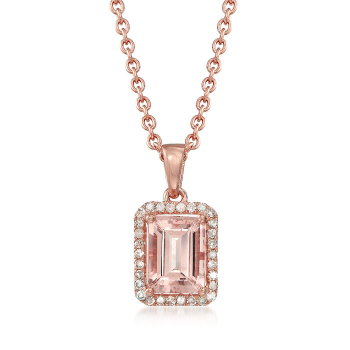 1.50 Carat Morganite and .14 ct. t.w. Diamond Pendant Necklace in 14kt Rose Gold Over Sterling