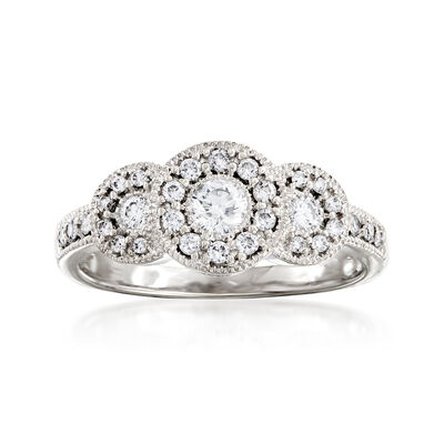 C. 1990 Vintage .50 ct. t.w. Diamond Three-Circle Ring in 14kt White Gold, , default
