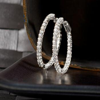 """2.75 ct. t.w. Diamond Inside-Outside Hoop Earrings in 14kt White Gold. 1 1/4"""", , default"""