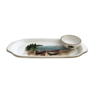 Abbiamo Tutto Italian a Day at the Lake Ceramic Set: Narrow Tray and Mini Dipping Bowl, , default