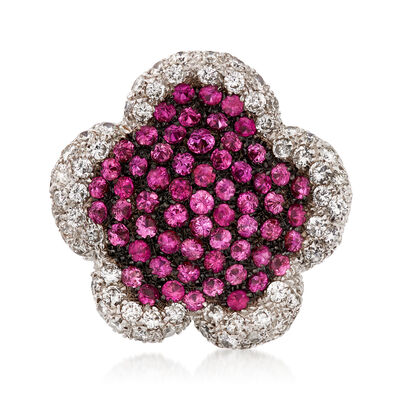 C. 2000 Vintage 6.00 ct. t.w. Pink Sapphire and 3.50 ct. t.w. Diamond Flower Ring in 18kt White Gold, , default