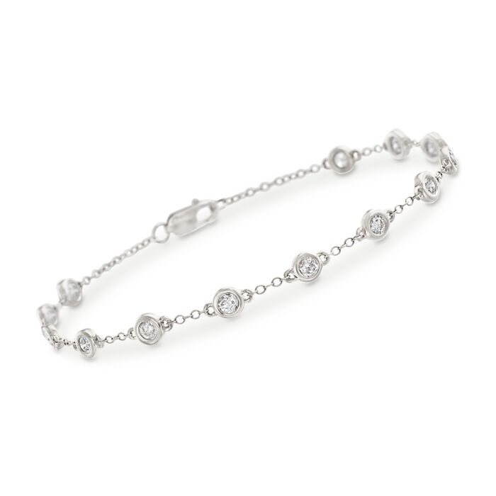 1.00 ct. t.w. Bezel-Set Diamond Station Bracelet in 14kt White Gold, , default