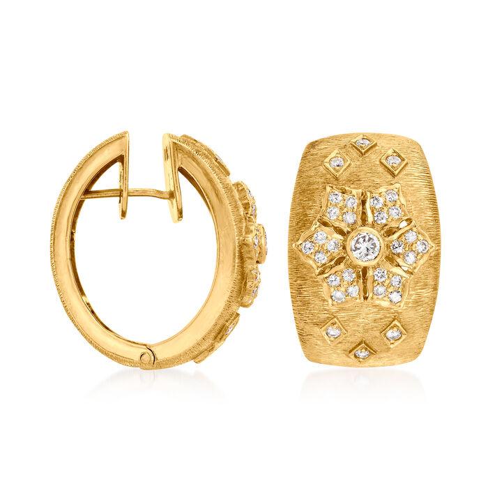 C. 1970 Vintage 1.00 ct. t.w. Diamond Flower Hoop Earrings in 18kt Yellow Gold