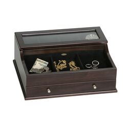 "Mele & Co. ""Hampden"" Mahogany-Finished Wooden Dresser Valet With Glass Top, , default"