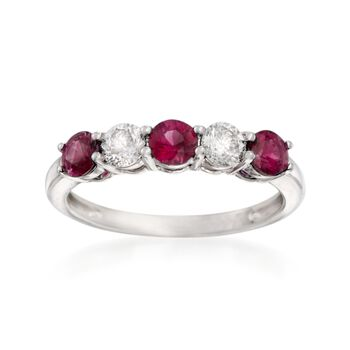 .70 ct. t.w. Ruby and .40 ct. t.w. Diamond Five-Stone Ring in 14kt White Gold, , default