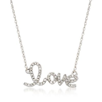 ".10 ct. t.w. Diamond ""Love"" Necklace in 14kt White Gold, , default"