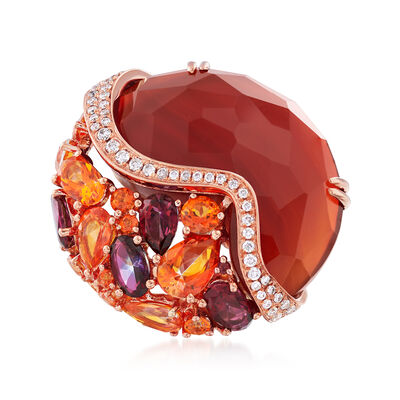 Red Agate and 2.50 ct. t.w. Multi-Stone Mosaic Ring in 14kt Rose Gold, , default