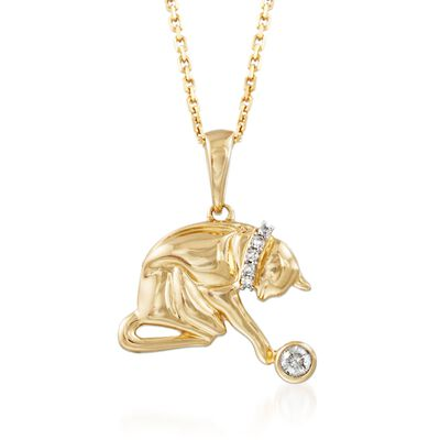 14kt Gold Over Sterling Silver Cat Pendant Necklace with Diamond Accents, , default