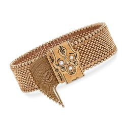 C. 1930 Vintage 14kt Yellow Gold Tassel Bracelet With 3.5mm Cultured Pearls. Adjustable Size, , default
