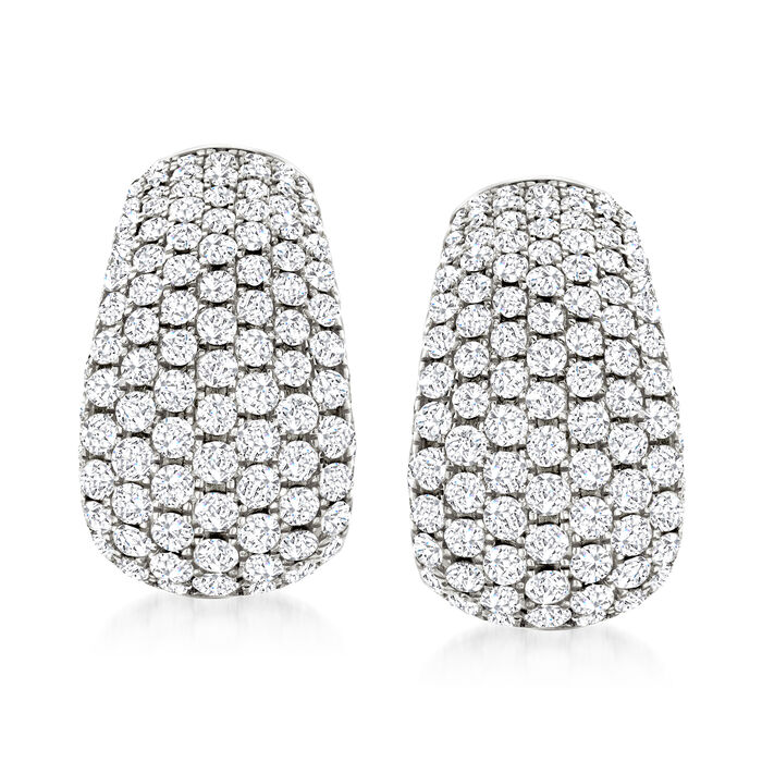 3.00 ct. t.w. Pave Diamond Earrings in 14kt White Gold
