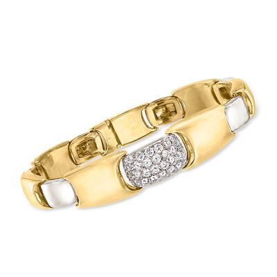 C. 1980 Vintage 2.00 ct. t.w. Diamond Bracelet in 18kt Two-Tone Gold