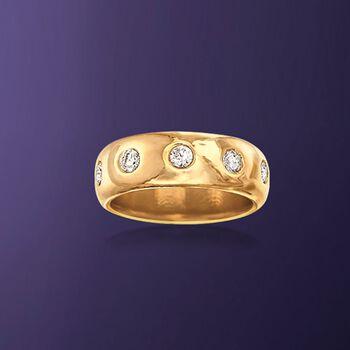 Italian Andiamo 14kt Yellow Gold and 1.00 ct. t.w. CZ Eternity Ring, , default