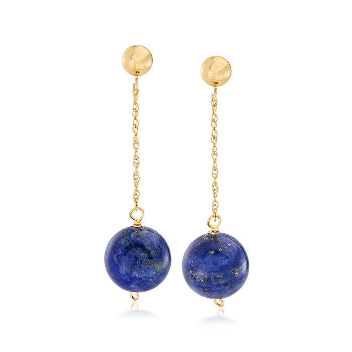 10mm Lapis Bead Drop Earrings in 14kt Yellow Gold