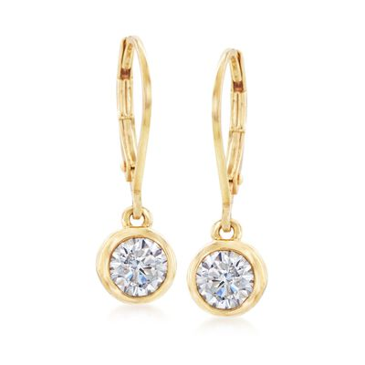 1.00 ct. t.w. Bezel-Set CZ Drop Earrings in 14kt Yellow Gold, , default