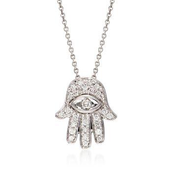 "Roberto Coin .18 ct. t.w. Diamond ""Hamsa"" Pendant Necklace in 18kt White Gold. 16"", , default"