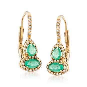.60 ct. t.w. Emerald and .15 ct. t.w. Diamond Drop Earrings in 14kt Yellow Gold, , default
