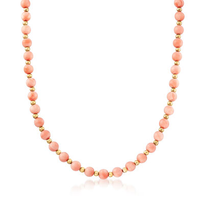 C. 1970 Vintage Peach Coral Beaded Endless Necklace in 14kt Yellow Gold, , default