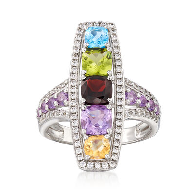 2.10 ct. t.w. Multi-Gemstone and .50 ct. t.w. CZ Ring in Sterling Silver, , default