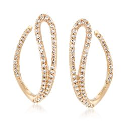 .50 ct. t.w. Diamond Swoop Drop Earrings in 14kt Yellow Gold, , default