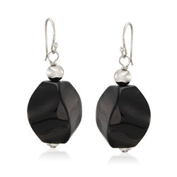 Black Agate Bead Drop Earrings in Sterling Silver, , default