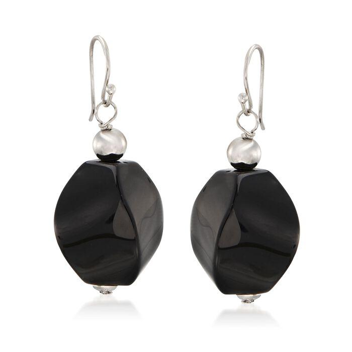 Black Agate Bead Drop Earrings in Sterling Silver, , default