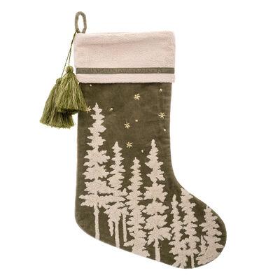 Cream Tree and Green Velvet Holiday Stocking