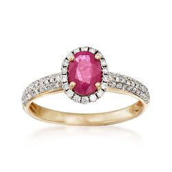.90 Carat Burmese Ruby and .28 ct. t.w. Diamond Ring in 14kt Yellow Gold, , default