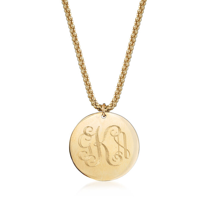 14kt Yellow Gold Engravable Disc Charm Necklace