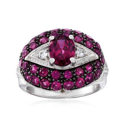 4.10 ct. t.w. Rhodolite Garnet and .10 ct. t.w. White Topaz Ring in Sterling Silver, , default
