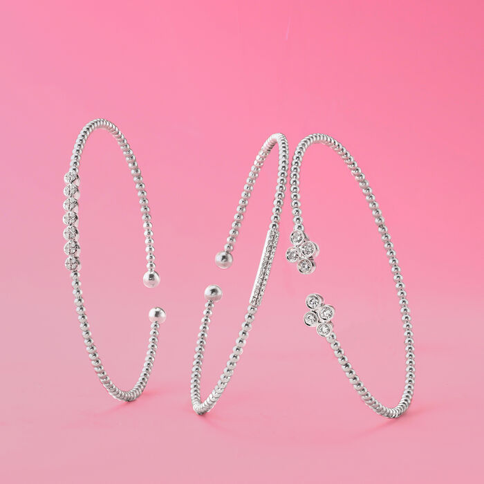 Gabriel Designs .14 ct. t.w. Diamond Cuff Bracelet in 14kt White Gold
