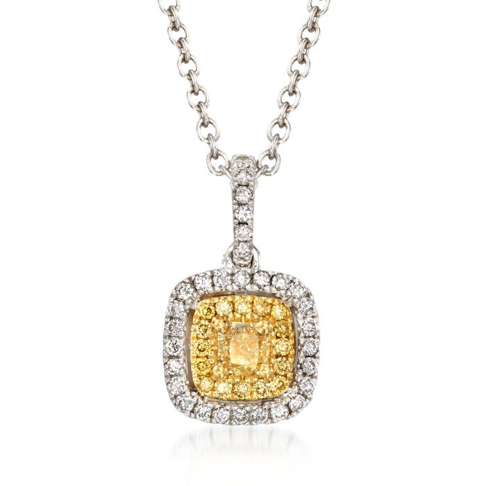 """Gregg Ruth .43 ct. t.w. Yellow and White Diamond Necklace in 18kt White Gold. 18"""", , default"""