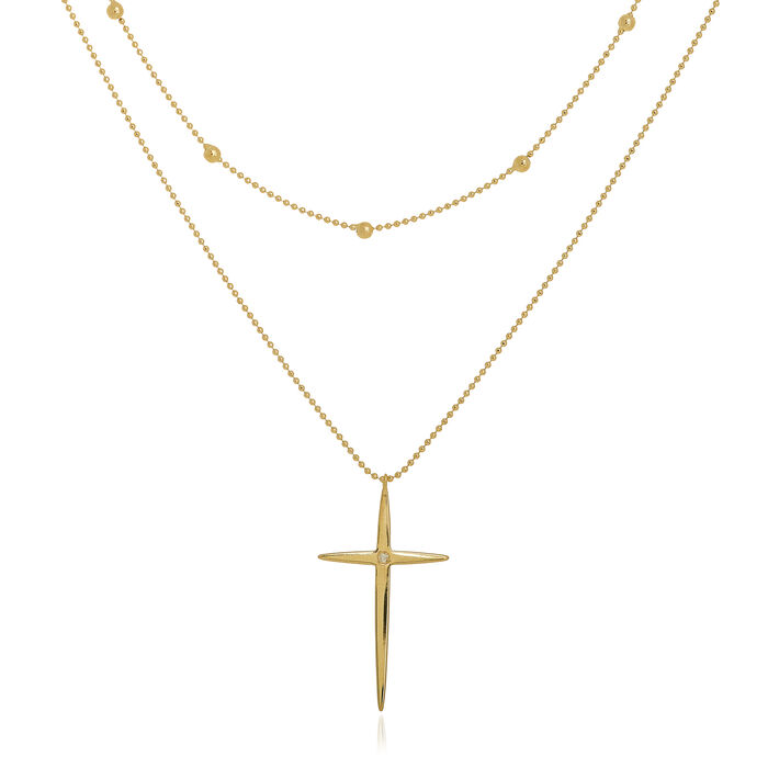 14kt Yellow Gold Diamond-Accented Cross Two-Strand Necklace