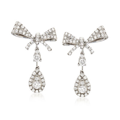 .75 ct. t.w. Diamond Bow Drop Earrings in 14kt White Gold