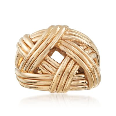 14kt Yellow Gold Basketweave Ring, , default