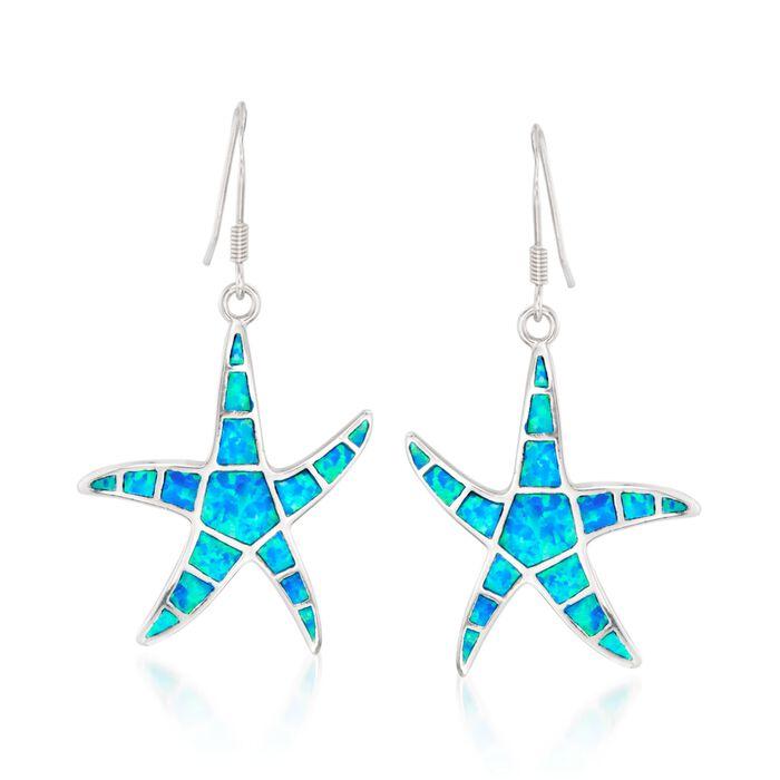 Blue Synthetic Opal Starfish Drop Earrings in Sterling Silver, , default