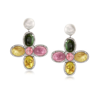 6-7mm Cultured Pearl and 6.95 ct. t.w. Multicolored Tourmaline Drop Earrings in Sterling Silver