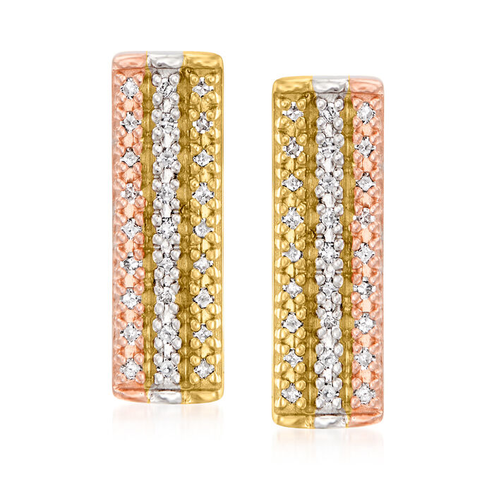 .25 ct. t.w. Diamond Bar Earrings in Sterling Silver and 18kt Yellow and Rose Gold Over Sterling