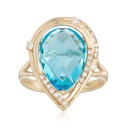 6.50 Carat Blue Topaz and .14 ct. t.w. Diamond Ring in 14kt Yellow Gold, , default