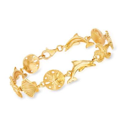 18kt Gold Over Sterling Silver Sea Life Link Bracelet, , default