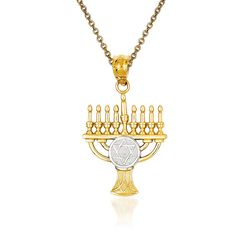 14kt Yellow Gold Menorah Pendant Necklace, , default