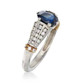 C. 1990 Vintage 1.65 Carat Sapphire and .55 ct. t.w. Diamond Ring in Platinum. Size 6, , default