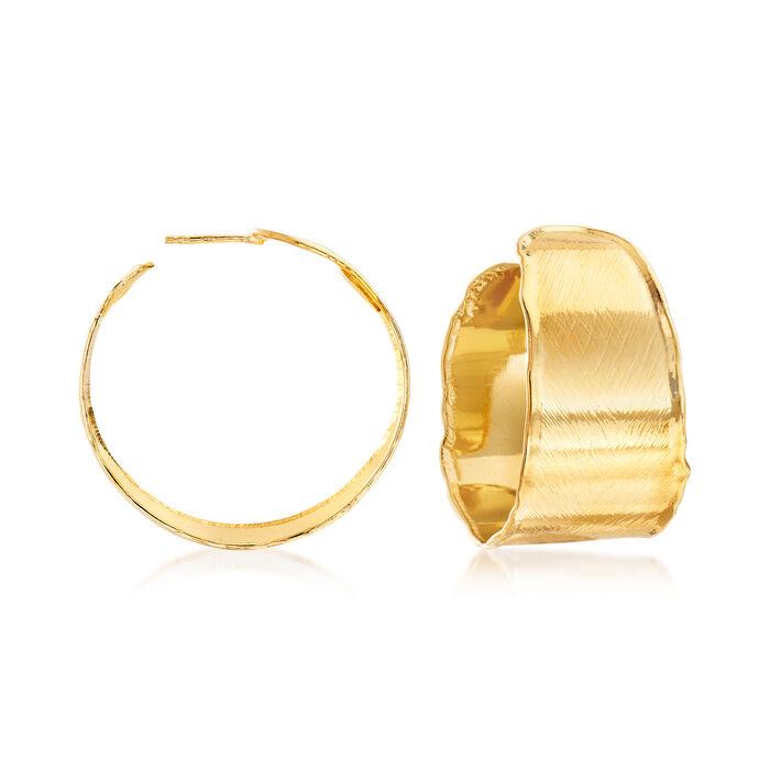 """Italian 18kt Gold Over Sterling C-Hoop Earrings. 1 1/4"""""""