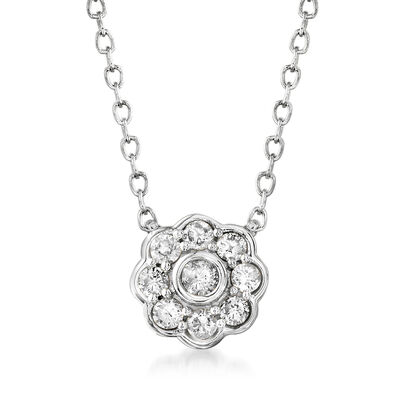 .20 ct. t.w. Diamond Flower Necklace in 14kt White Gold