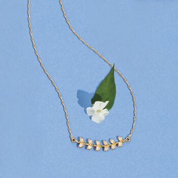 """.18 ct. t.w. CZ Leaves Necklace in 14kt Yellow Gold. 18"""", , default"""