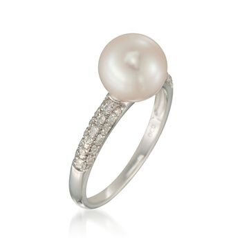 9mm Cultured Pearl and .15 ct. t.w. Diamond Ring in 14kt White Gold, , default